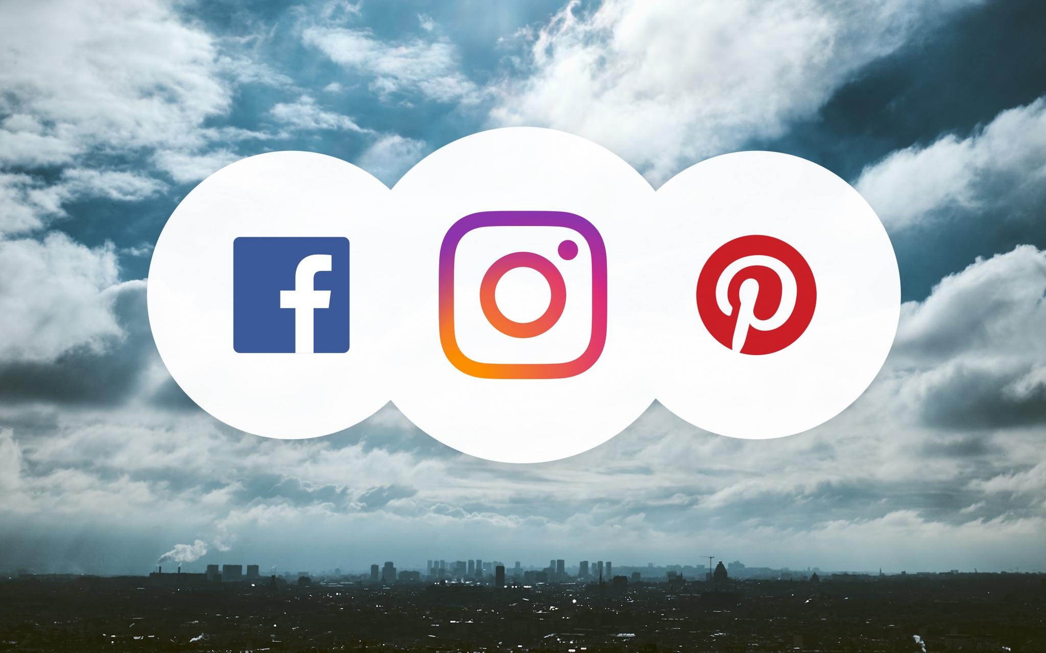 Facebook, Instagram, Pinterest